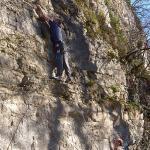 Sortie escalade à Hauteroche avec le COC en janvier 2011